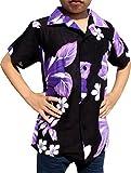 Raan Pah Muang Childrens Hawaiian Shirt in Summer Rayon Floral Prints, 8-10 Years, Black Purple
