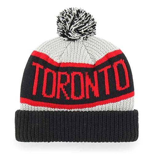 '47 Toronto Raptors Black Cuff Calgary Beanie Hat with Pom Pom - NBA Cuffed Winter Knit Toque Cap