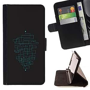 BullDog Case - FOR/HTC One M8 / - / MINIMALIST MAZE PATTERN /- Monedero de cuero de la PU Llevar cubierta de la caja con el ID Credit Card Slots Flip funda de cuer