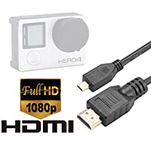 Luxebell HDMI HD Video Cable for Gopro Hero 4, Black, Silver, 3+, 3 and Sony Action Cam Hdr as15, as20 , as30v , as100v, as200v --5feet/1.5m