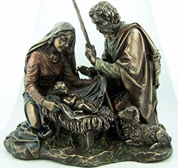Bronze Nativity Set in Manger with Lamb Christmas Figure Statue