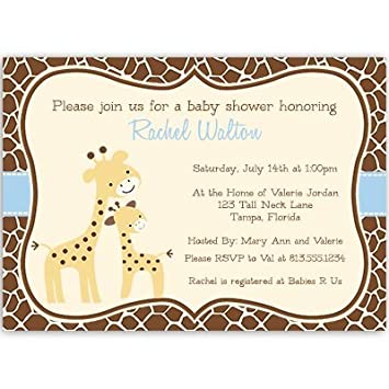 Amazon giraffe baby shower invitations baby boy blue brown giraffe baby shower invitations baby boy blue brown safari jungle filmwisefo