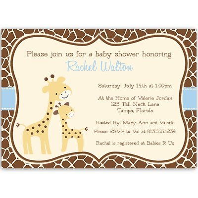 Giraffe Baby Shower Invitations, Baby Boy, Blue, Brown, Safari, Jungle, Zoo, Animal Print, Sprinkle, Personalized, Customized, Set of 10 Printed Invites with Envelopes, Gentle Giraffe (Giraffe Sprinkles)
