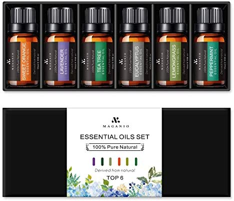 MAGANIO Essential Oils Set Top 6 [NAHA Certificate] 100% Pure Natural, Therapeutic Grade 10ML Undiluted Oil Gift Kit for Diffuser, Aromatherapy & Massage – Primary Collection