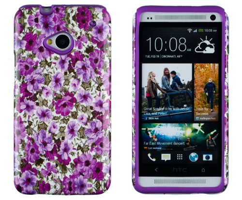 DandyCase 2in1 Hybrid High Impact Hard Lavender Garden Floral Pattern + Purple Silicone Case Cover For HTC One M7 4G LTE + DandyCase Screen Cleaner