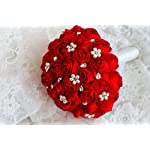 Ivory-blue-coral-T-blueRed-Rose-flower-bridal-brooch-bouquet-Wedding-Bride-s-Jewelry-crystal-Pearl-Rhinestone-Cloth-fabric-Bouquets-red