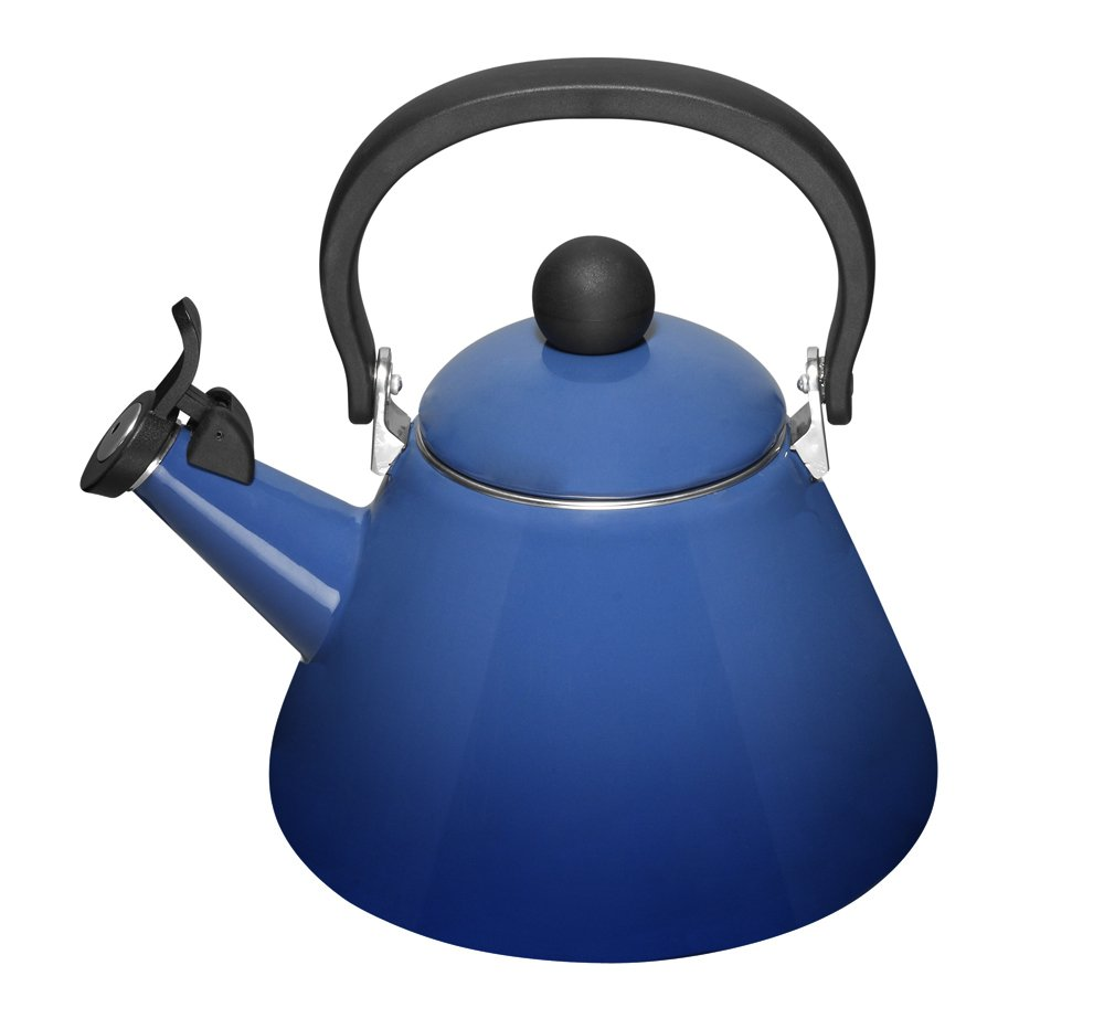 Le Creuset 1.7Qt Teakettle Enamel on Steel Whistling Kone Tea Kettle, Cobalt Blue