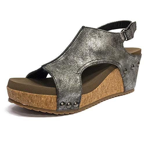 - Corkys Footwear Womens Platform Strap Pump(Ingrid Dark Pewter - Pu,10 M US)