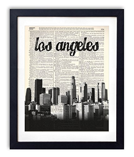 Los Angeles Skyline With Name Vertical Dictionary Art Print - Angeles Chic Los