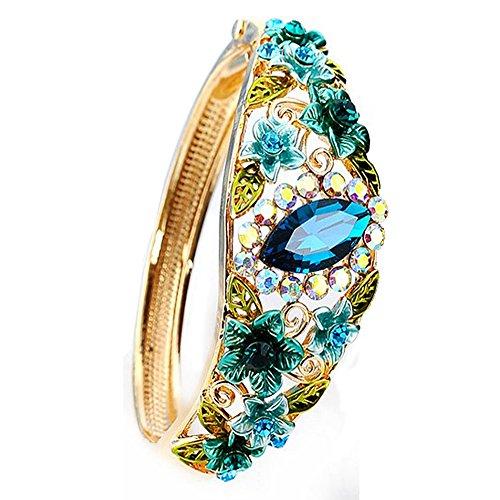Women Rose Retro Flower Cloisonné Enamel Gold plating Bangle Bracelet with Austrian Crystals Craft Jewelry 5 Colors
