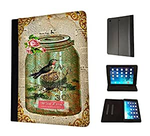 541 - Vintage Shabby Chic Victorian Bird Nest Floral Roses Design Apple ipad Pro -2015 Fashion Trend TPU Leather Flip Case Protective Purse Pouch Book Style Defender Stand Cover
