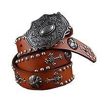 H&W Mens Tan Vintage Genuine Leather Studded Belt 38mm Cowboy Belt with Studs