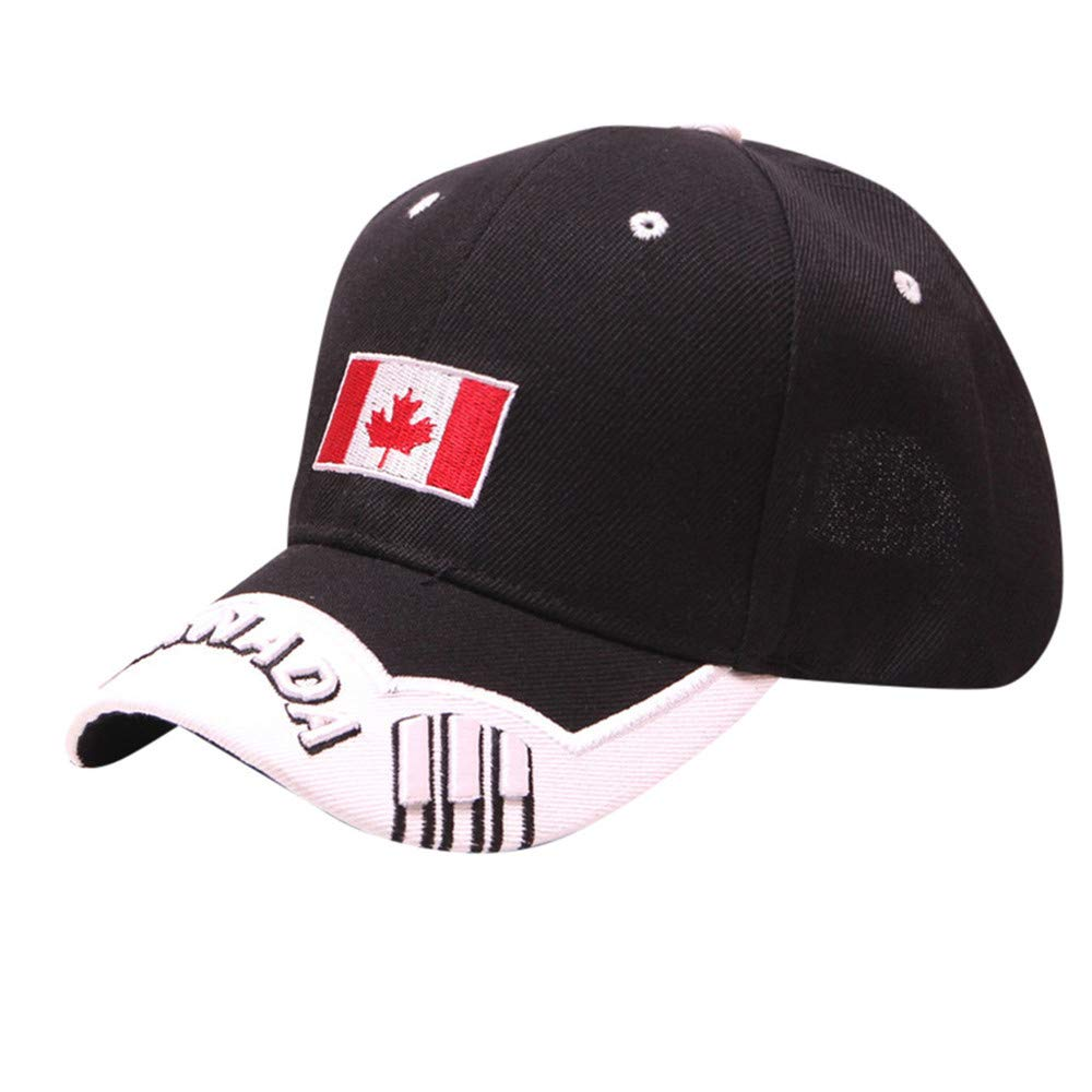 Yaseking Unisex Cotton Baseball Cap, Three-Dimensional Embroidery Canadian Maple Leaf Printed Baseball Cap Hat(C)