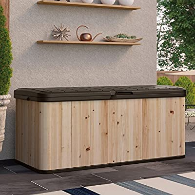 Suncast Extra Large Cedar and Plastic 120-Gallon Deck Box - WRDB12000 - Dimensions: 54.5L x 27.5W x 24.25H in. Built from cedar and plastic Natural wood color with java top and base - entryway-furniture-decor, entryway-laundry-room, benches - 51QeP61whGL. SS400  -