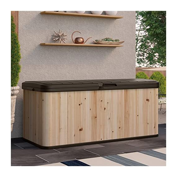 Suncast Extra Large Cedar and Plastic 120-Gallon Deck Box - WRDB12000 - Dimensions: 54.5L x 27.5W x 24.25H in. Built from cedar and plastic Natural wood color with java top and base - entryway-furniture-decor, entryway-laundry-room, benches - 51QeP61whGL. SS570  -