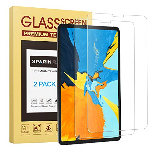 [2 Pack] Screen Protector for iPad Pro 11, SPARIN Tempered Glass Screen Protector Works with FACE ID - Apple Pencil Compatible/Highly Responsive