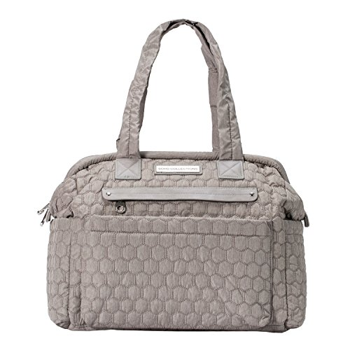 Diaper Bag for Mom with Stroller Straps, Changing Pad, Multiple Pockets, Baby Wipes Case | Large Waterproof Nappy Tote Bag for Baby Girls or Boys | Complete 6-Piece Set | SoHo Union Square, Light Gray ()