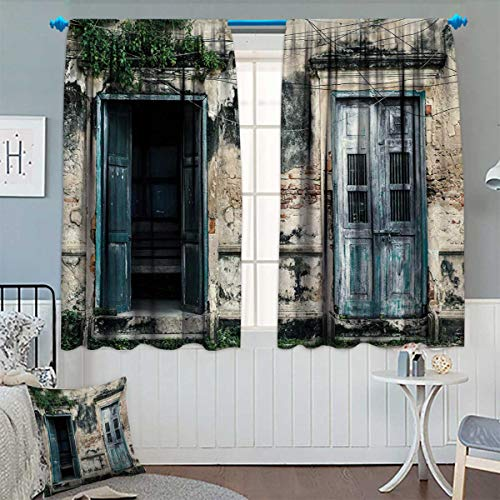 Rustic,Blackout Curtain,Doors of Old Rock House with French Frame Details in Countryside European Past Theme,Blackout Draperies for Bedroom,Teal Grey,W63 x L45 inch ()