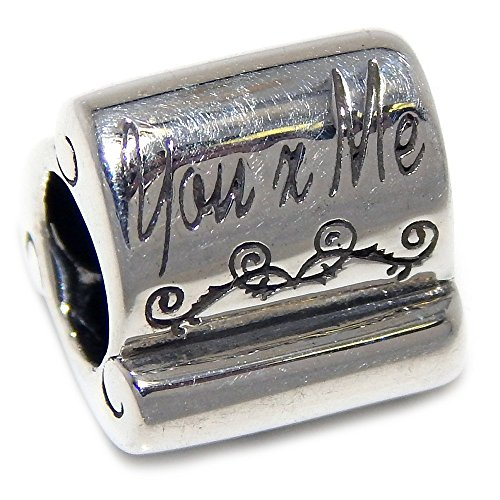 - PJEWELRY 925 Solid Sterling Silver Three-Sided Love/Hearts/You and Me Scroll Charm Bead