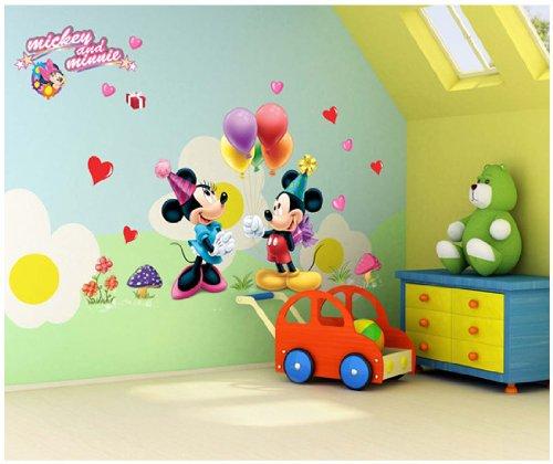 ToPro Autocollants muraux dé coratifs pour chambre d'enfant Motif Mickey et Minnie avec cœ urs et ballons