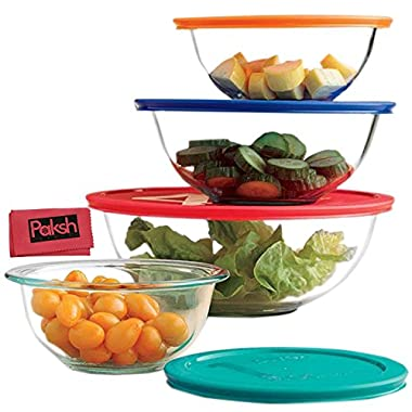Food Storage Bundle - Glass Mixing Bowls With Lids | Glass Food Storage Containers | Dishwasher, Oven and Microwave Safe, Clear [Set of 8] Bundled with Cloth
