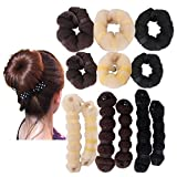759Shop Hot Buns 2 Piece Magic Hair Styling Styler Twist Ring Former Shaper Doughnut Donut Chignon Bun Maker Clip Hair Curler Accessory Small & Large (Black+L.Blonde+D.Brown)