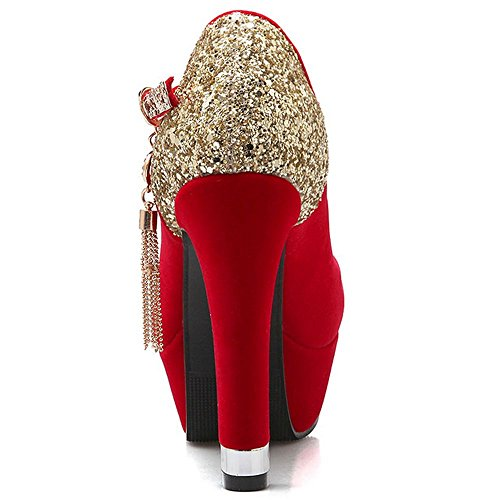 LongFengMa Strap Suede Shoes Party Heels Red Pumps Women Wedding Ankle Block Glitter rIqRwrx6S