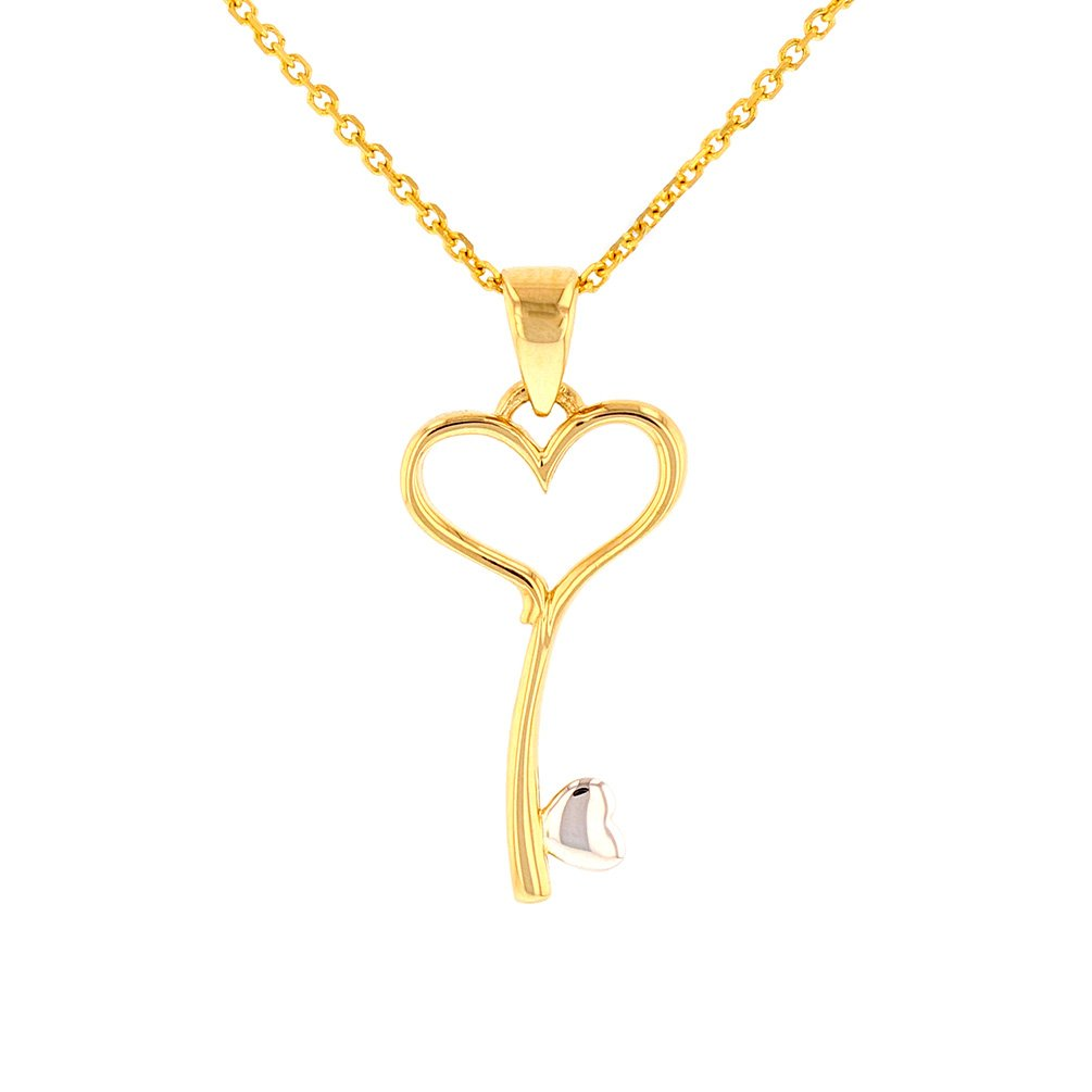 High Polish 14k Gold Curved Love Key with Open Heart Pendant Necklace, 20''