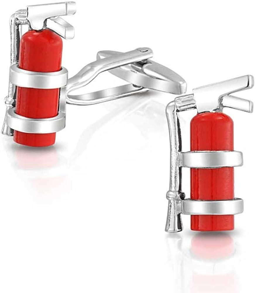 Esmalte Rojo Extintor Bombero Fighter Camisa Gemelos para Hombres Atrás con Bisagras De Acero Inoxidable Tono Plata