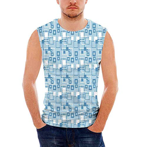 Geometric Custom Graphic Tank Tops,Simplistic Abstract Squares Kids Boys Interse