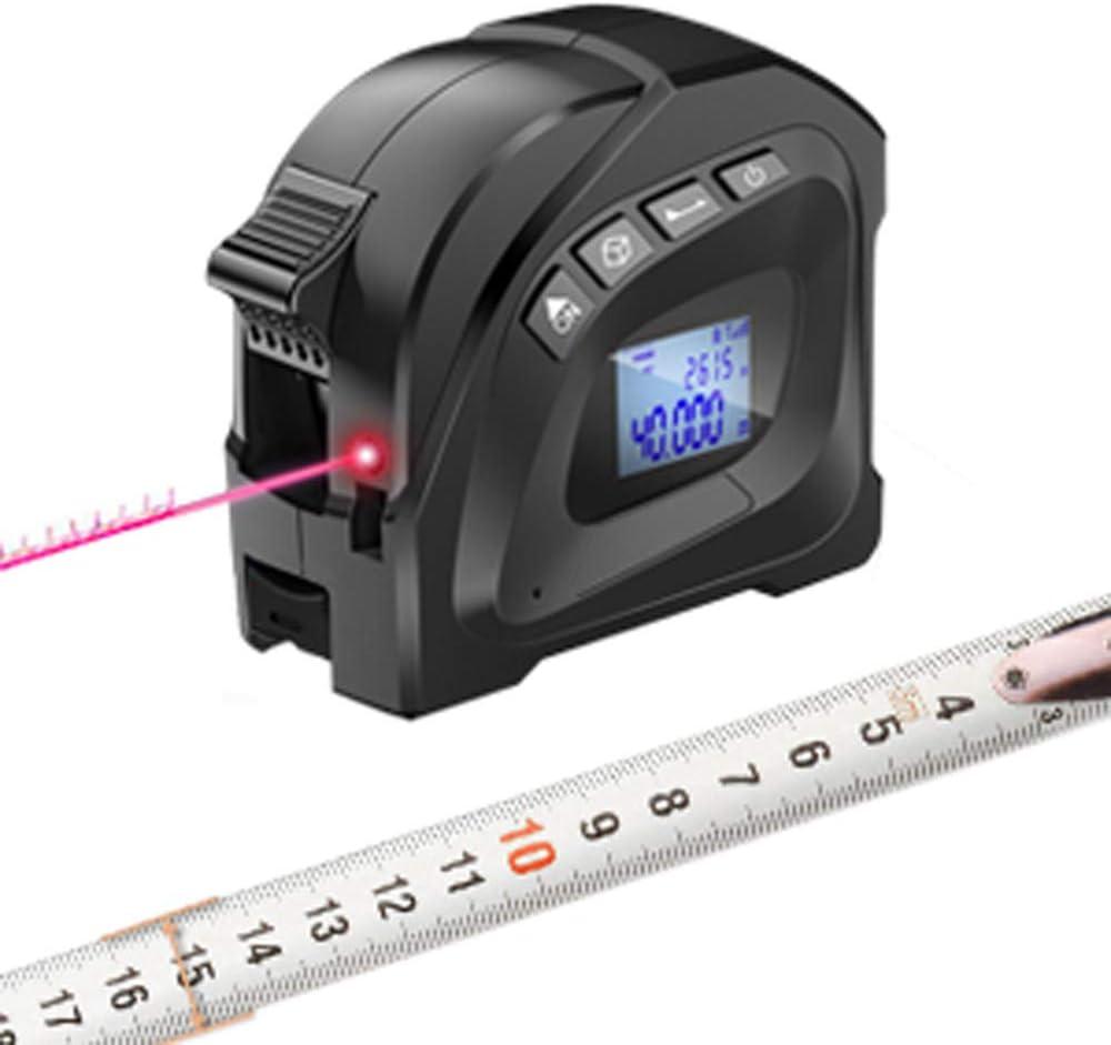 METERK Metro a Nastro Laser 2 in 1 con Display Digitale LCD Misuratore di Distanza Laser Multifunzione Ricaricabile per Area di Misura//Volume//Pitagorico