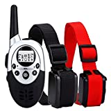 Dog Training Collar 1100 Yards WaterProof Rechargeable Wireless LCD Remote Shock Control Pet Dog Training Collar with 8 Levels of Vibration and Shock for Medium or Large Dog Trainer … (for 2 dogs)