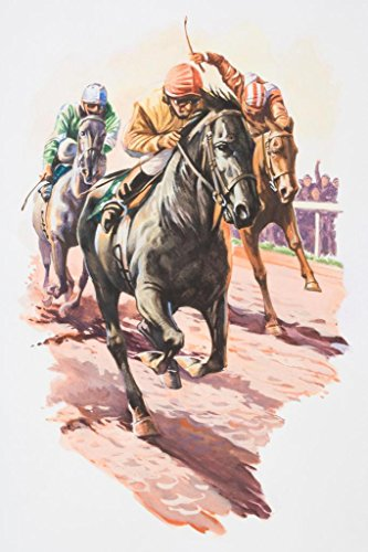Three Jockeys Fighting to Come in First Art Print Mural Giant Poster 36x54 inch