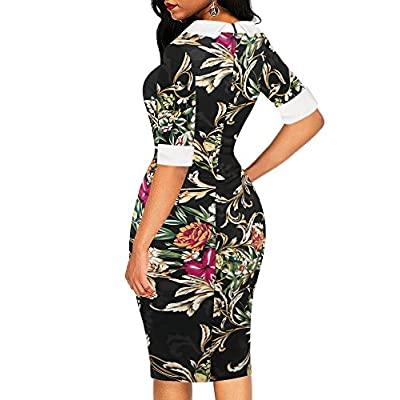 oxiuly Women's Retro Bodycon Knee-Length Formal Office Dresses Pencil Dress OX276 at Women's Clothing store