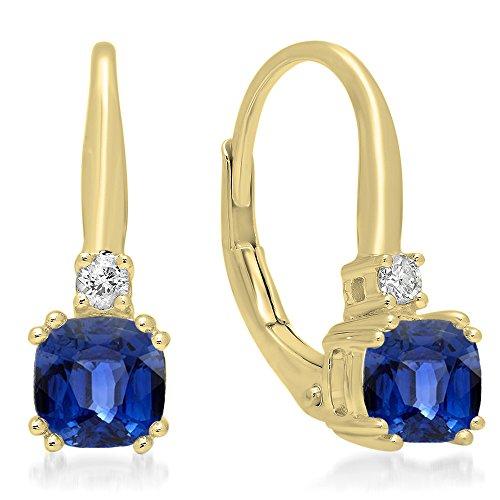 14K Yellow Gold Cushion Cut Blue Sapphire & Round Cut White Diamond Ladies Dangling Drop Earrings (Sapphire Earrings Dangling Cut)