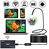 Semi-Rigid Endoscope Wireless Endoscope 16.5FT WiFi Borescope IP68 1200P Inspection Camera 2.0 Megapixels HD CMOS Waterproof Snake Camera with 8 Adjustable Led Light - 16.5FT
