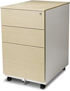 Aurora FC-103LW Modern Soho Design 3-Drawer Metal Mobile File Cabinet with Lock Key/Fully Assembled, White/Light Wenge