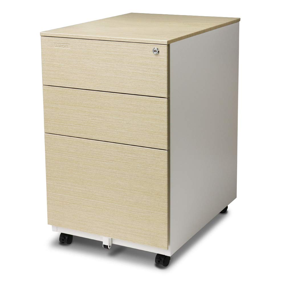 Aurora FC-103LW Modern Soho Design 3-Drawer Metal Mobile File Cabinet with Lock Key/Fully Assembled, White/Light Wenge by Aurora Corporation