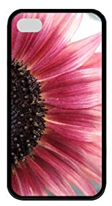 Marvellous Half Pink Sunflower Customized Rubber Black iphone 4/4s Case By diycenter Your Perfect Choice