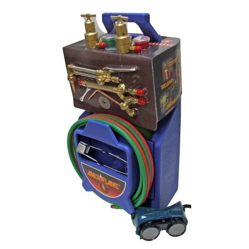 Metal Cutting Torch - Ameriflame TI350 Medium/Heavy Duty Portable Welding/Cutting/Brazing Outfit with Plastic Carrying Stand
