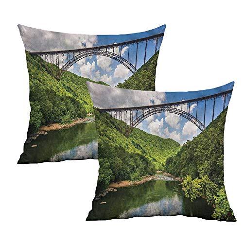 Wake Pillowcase Printed Forest - Khaki home River Square Standard Pillowcase Gorge Bridge Green Forest Square Pillowcase Covers with Zipper Cushion Cases Pillowcases for Sofa Bedroom Car W 16