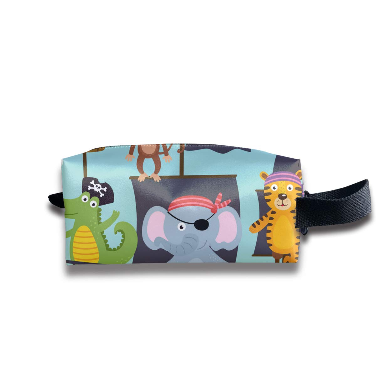 Ship With Pirates Animals Is Swimming On Sea_374 Canvas Makeup Bag Pouch Purse Handbag Organizer with Zipper