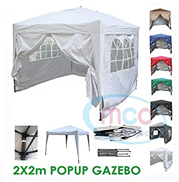 Mcc® Gazebo plegable impermeable del gazebo 2x2m, tienda del pabellón con la capa protectora de plata incluye paredes laterales [WS] (color Blanco): ...
