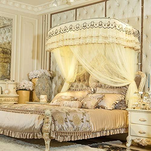 姫ベッドキャノピー,暗号化糸蚊帳 引き込み式 ヨーロッパコート ラグジュアリー ベッド キャノピー の-形 ベッド カーテン-イエロー