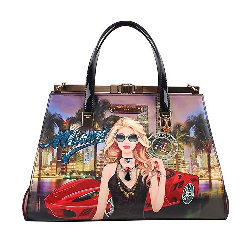 Nicole Lee Satchel/Cross Body Fashion Girl's Women's Handbags Miami Night Collection Purses (Miami Night Satchel) (Nicole Lee Handbags And Purses)
