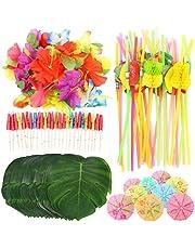 KAHEIGN 108Piezas Decoración Tropical de Fiesta de Luau, 24 Piezas de Hojas de Palma 24 Piezas de Flores 30 Piezas de Paraguas Multicolores 30 Piezas de Pajitas de Frutas 3D