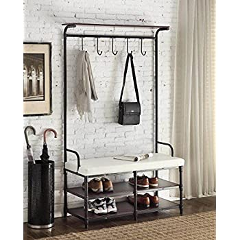 Amazon Com Black Metal And White Bonded Leather Entryway