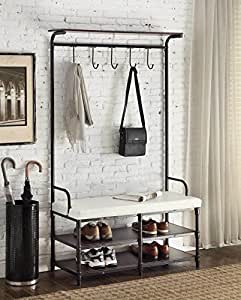 Amazon.com: Black Metal and White Bonded Leather Entryway