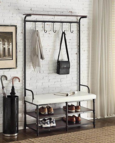 Black Metal and White Bonded Leather Entryway Shoe Bench with Coat Rack Hall Tree Storage Organizer 5 Hooks - 40.5'' Wide Bench