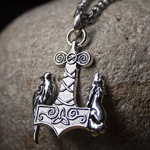 Viking Axe Sterling Silver Thor's Hammer Mjolnir pendant necklace with Odins raven and wolf Protection Amulet Jewelry Gifts for Men Women